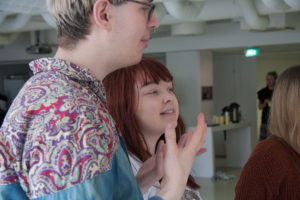 Heikki Heinonen and Heta Huttunen reviewing their installations
